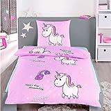 Dreamhome24 Bettwäsche Little Einhorn Unicorn Pony Hochwertige Microfaser Bettbezug 140x200