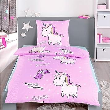 Dreamhome24 100 Baumwolle Fein Biber Bettwäsche Mädchen Einhorn