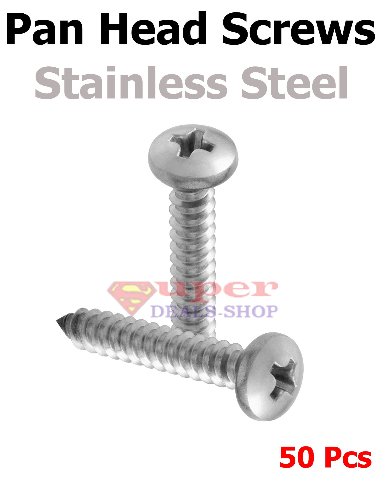 50 Pcs #10 x 1-1/4 Pan Head Sheet Metal Wood Screws Phillips Drive Stainless Steel 18-8 Full Thread Right Hand Threads Bright Finish Self-Tapping Made in US Super-Deals-Shop