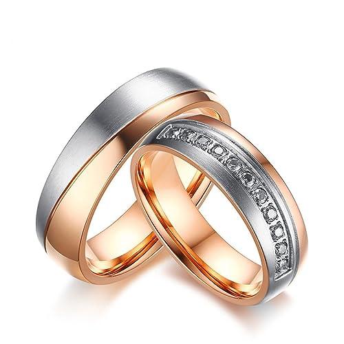 KnSam anillos de bodas de acero inoxidable para la pareja, compromiso de cristal de zirconia