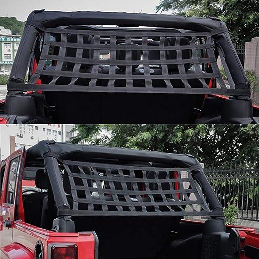 Auplew Red de Cable Trasero para Jeep Wrangler JK 2007 2018 Red de Malla de protecci/ón Solar Red de Techo Blando