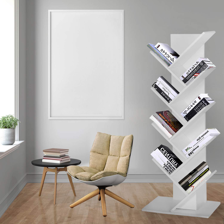 JOO LIFE 9-Shelf Tree Bookshelf Book Rack Bookcase Display Storage Furniture Organizer Freestanding Bookshelves for CDs Movies & Books