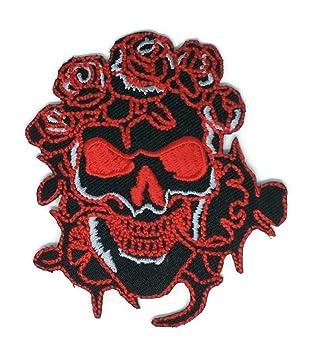 Rojo Rosa Cráneo Negro Cartoon Hippie Retro Biker chaqueta camiseta chaleco Patch coser hierro en bordados