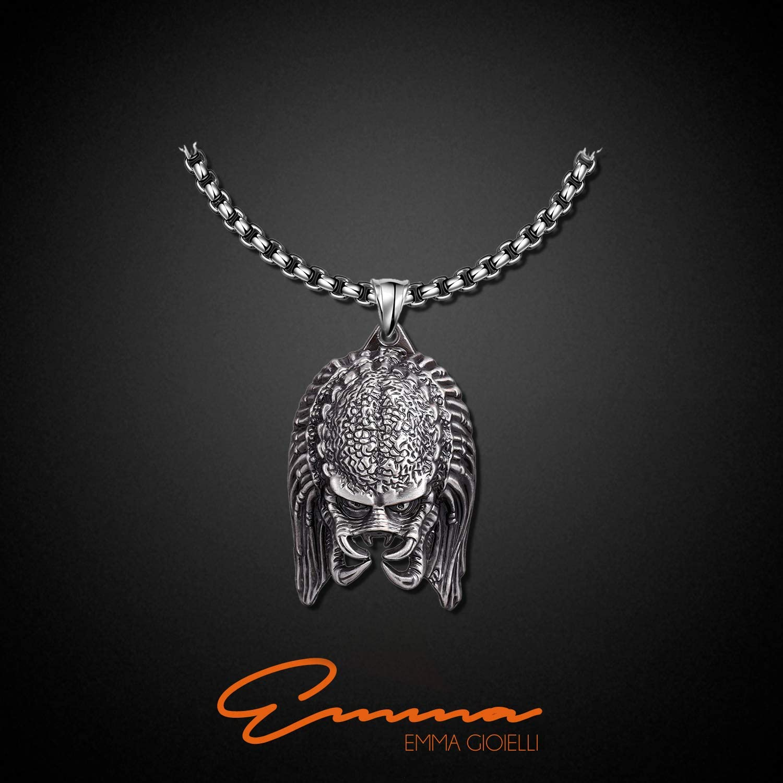 Emma Gioielli Paquete Regalo Collar para Mujer Hombre Unisex Cadena 60 cm en Acero DE ALTA CALIDAD y Colgante Cabeza de Drag/ón con Anillo