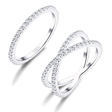 FUNRUN JEWELRY 2 PCS Sterling Silver Cubic Zirconia Rings Set for Women X Ring  CZ Wedding 3caf0c3efa