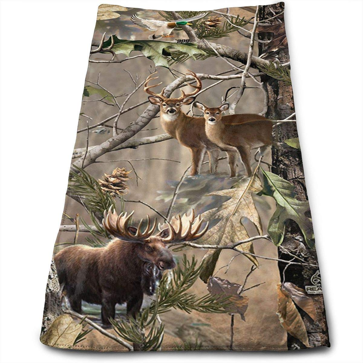 OQUYCZ Moose Deer and Bear in Forest Multi-Purpose Microfiber Towel Ultra Compact Super Absorbent and Fast Drying Sports Towel Travel Towel Beach Towel Perfect for Camping, Gym, Swimming.