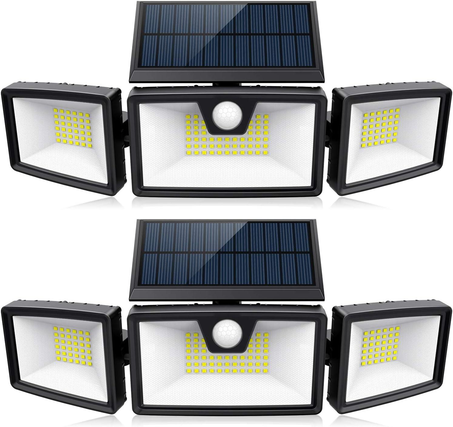 214 LED Solar Motion Sensor Lights Outdoor w/ 3 Work Modes, 3 Adjustable Heads, Wider Lighting Range. Waterproof Security Solar Powered Flood Lights for Outside Wall Yard Garage Porch(1200LM, 2 Pack)