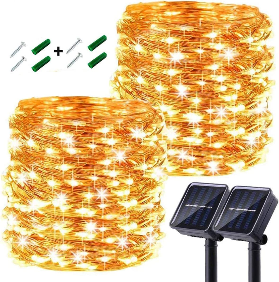 LiyuanQ Solar String Lights Outdoor, Upgraded 2 Pack 240 LED Solar Fairy Lights 88ft 8 Modes Waterproof Outdoor Garden Light Copper Wire Lighting for Wedding Patio Yard (Warm White)