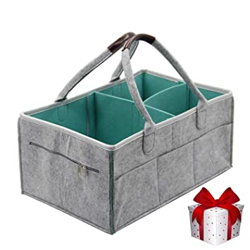Changing Table Organizer With Spacious Pockets... Nursery Décor Portable Baby Diaper Caddy