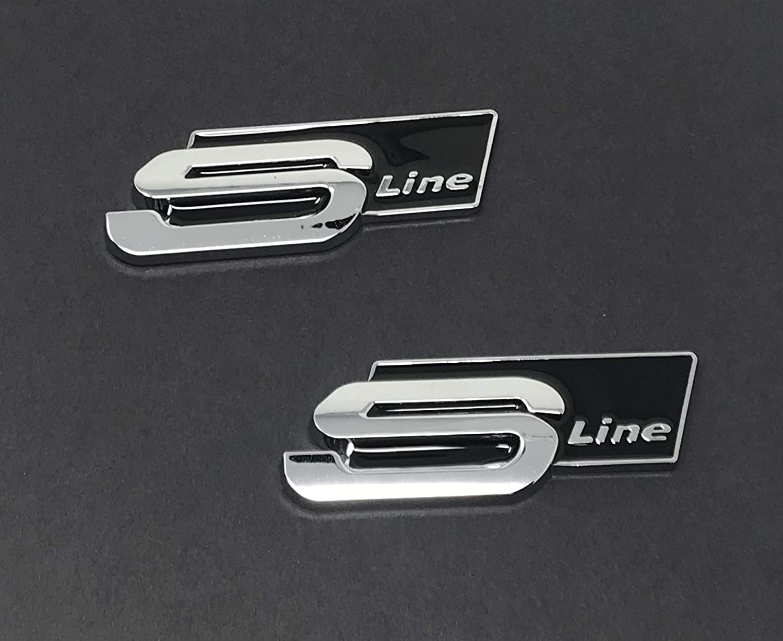 ✔️ 2X AUDI BLACK S LINE SLINE Aluminum Car High Quality OEM A1 S1 A2 S2 A3 S3 A4 S4 RS4 A5 S5 RS5 A6 S6 RS6 A7 S7 RS7 A8 S8 Q2 Q3 Q4 Q5 Q7 Q8 R8 TT RS V8 E TRON RS3 AUDI