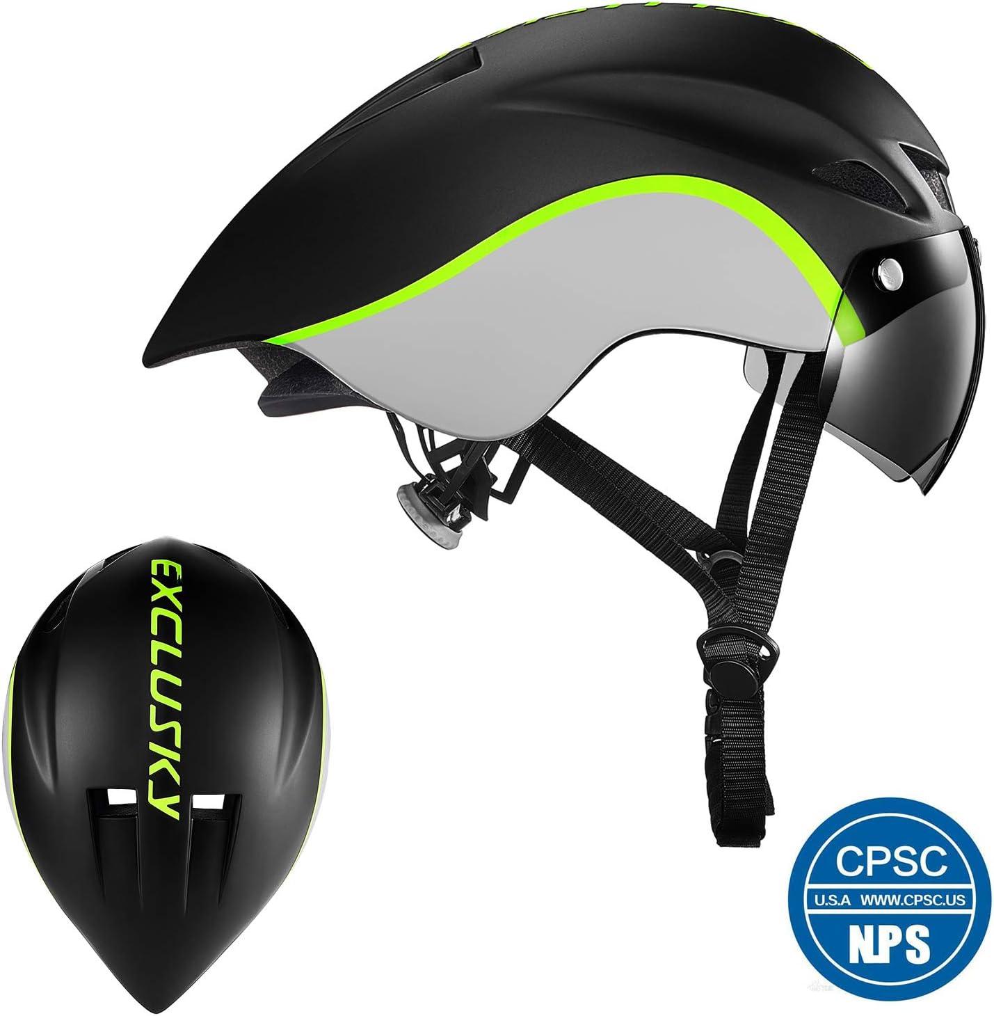 Exclusky Aero Bike Helmet with Removable Shield Visor Time Trial for Men Women, TT Triathlon Helmet for Road Bike, Cycling