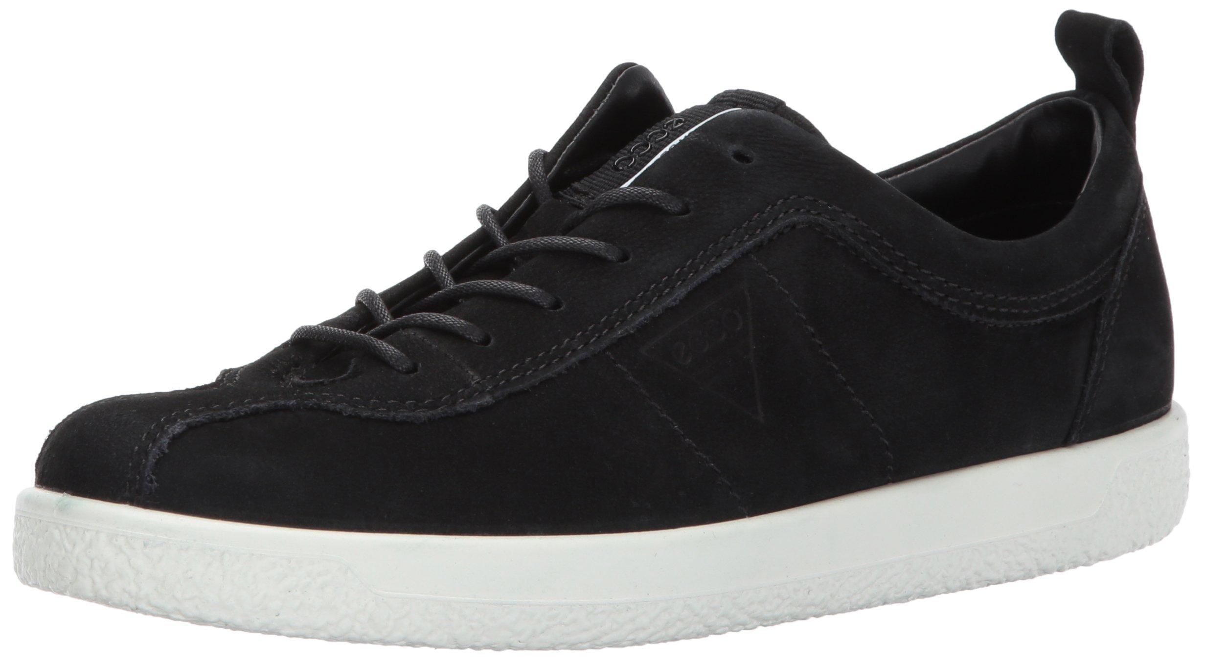 ECCO Women's Women's Soft 1 Fashion Sneaker, Black Nubuck, 39 EU/8-8.5 US