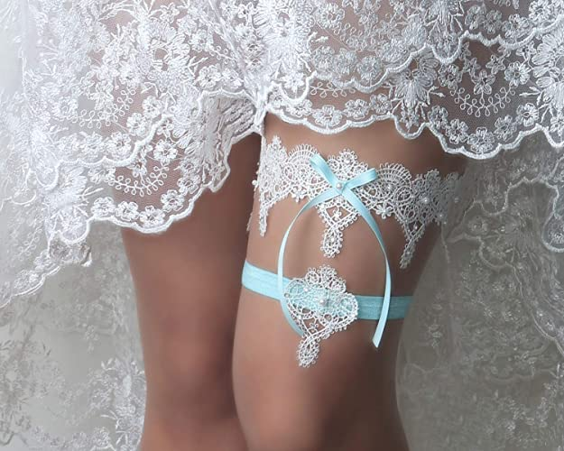 6a111341e6f3 Amazon.com: Wedding garter set, Rhinestone and pearl garter, Bridal lingerie,  Blue garter, Navy garter, Something blue for wedding: Handmade
