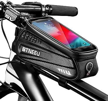 BTNEEU Bolsa Cuadro Bicicleta Impermeable con Pantalla Táctil, Bolsa Bicicleta Manillar Movil Bolsa Bicicleta Telefono Bolsa Tubo Bicicleta Compatible ...
