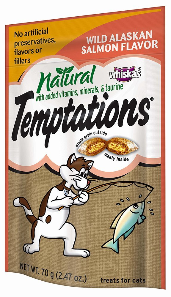 TEMPTATIONS Natural Cat Treats Salmon 2.47 oz (Pack of 12)