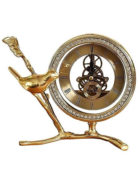 Fonly Relojes de Escritorio de latón con Pilas Relojes Antiguos de Cobre Puro con Forma de