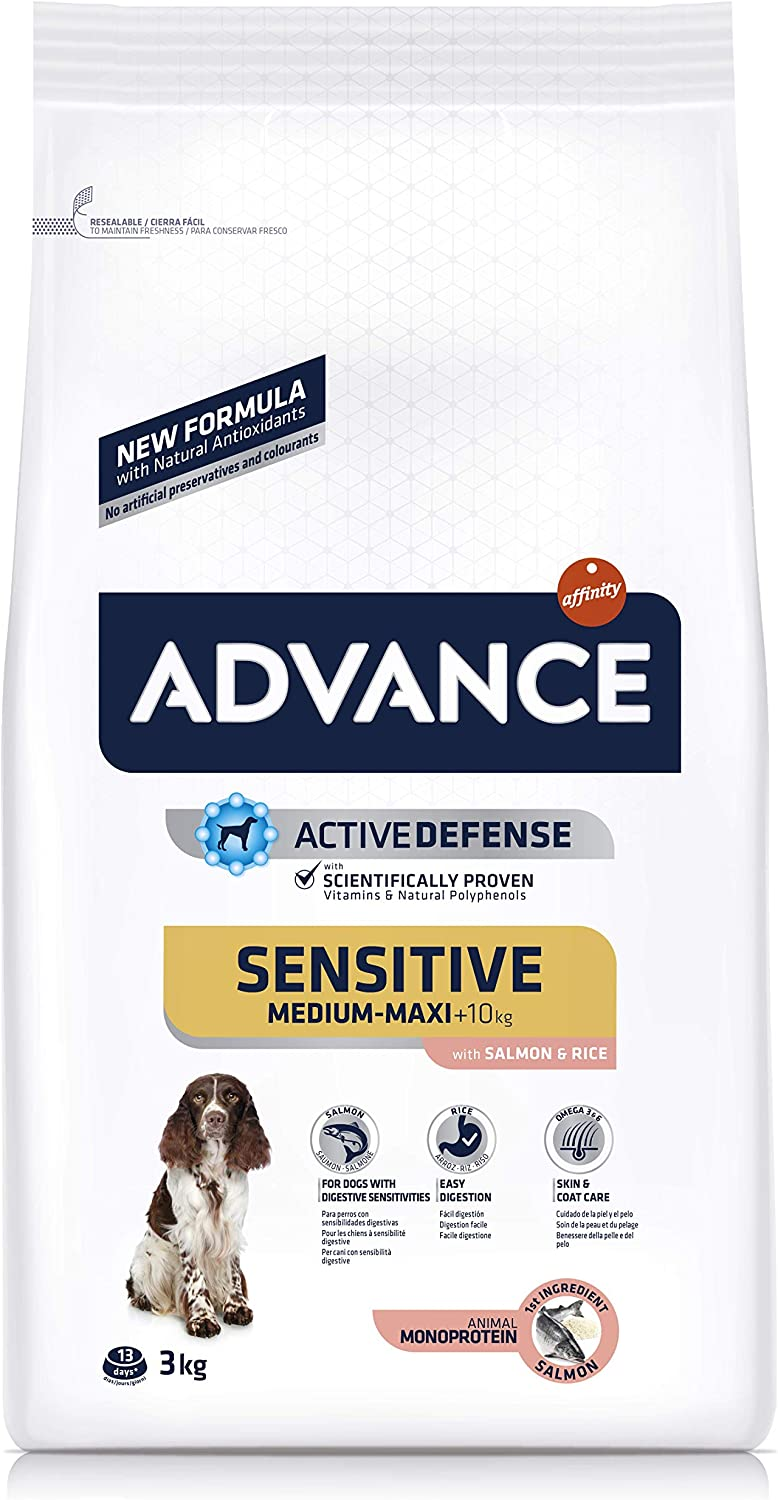 ADVANCE Sensitive - Pienso para Perros Medium-Maxi Adult con Salmón y Arroz - 3Kg