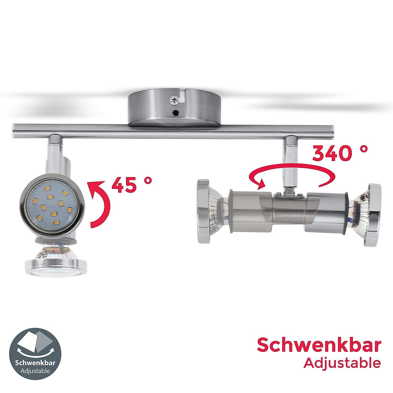 B.K spot de plafond /étanche IP44 luminaire salle de bain Licht plafonnier LED 2 spots orientables GU10 2x5W