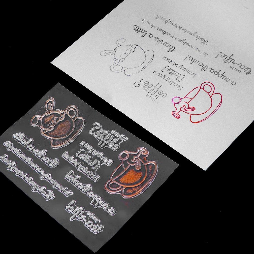 ecmqs conejo en copa sello claro sello de silicona DIY Diary recortes Tarjeta /Álbum S29