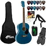 Tiger Beginners Acoustic Guitar Package - Blue
