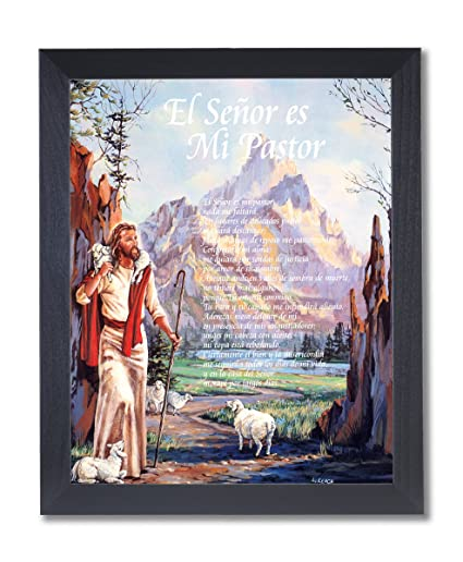 Hispanic Jesus Christ Lord Is My Shepherd Religious Picture Black Framed Art Print