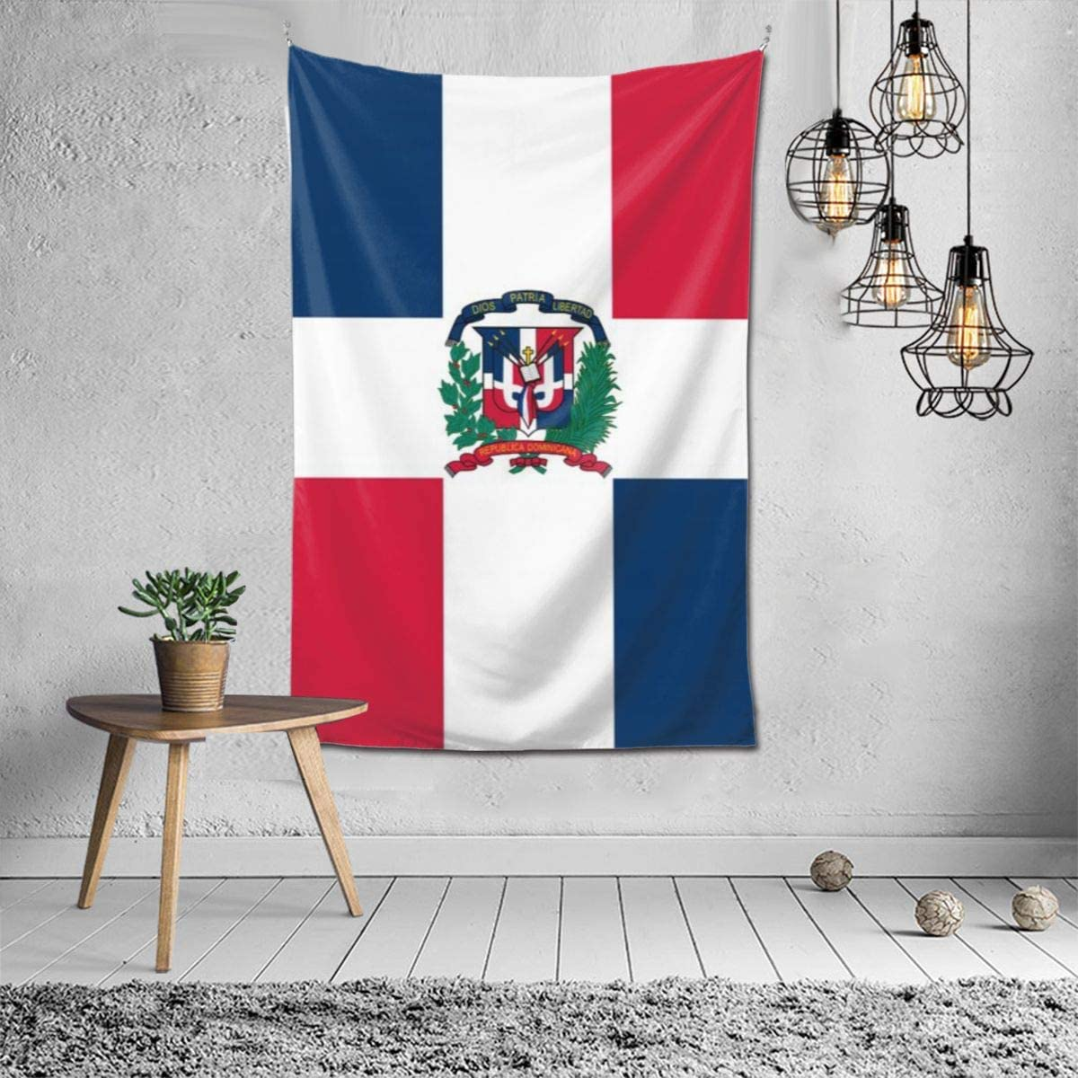 OHMYCOLOR Dominican Republic Flag Tapestry Indoor Wall Art Hanging Home Bedding Tapestries for Bedroom Living Room Dorm Decor 6040inch