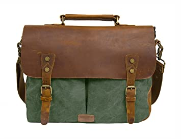 Amazon.com: ECOSUSI Unisex Vintage Canvas Leather 14