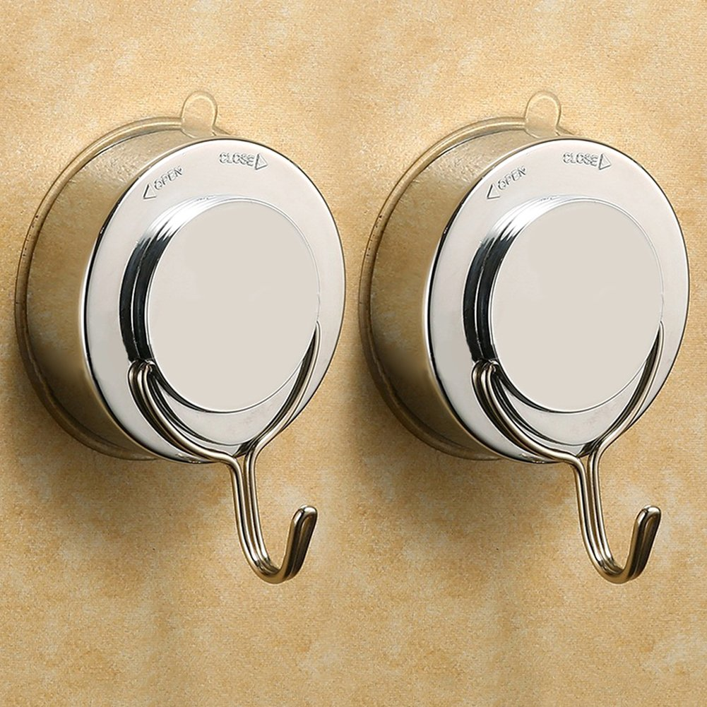 ShineMe Premium ABS Suction Cup Hook with Plating Vacuum Traceless Hooks for Smooth Wall Shower Kitchen Window Bathroom Hook Bag Coats Towels Caps Holder (2pcs)