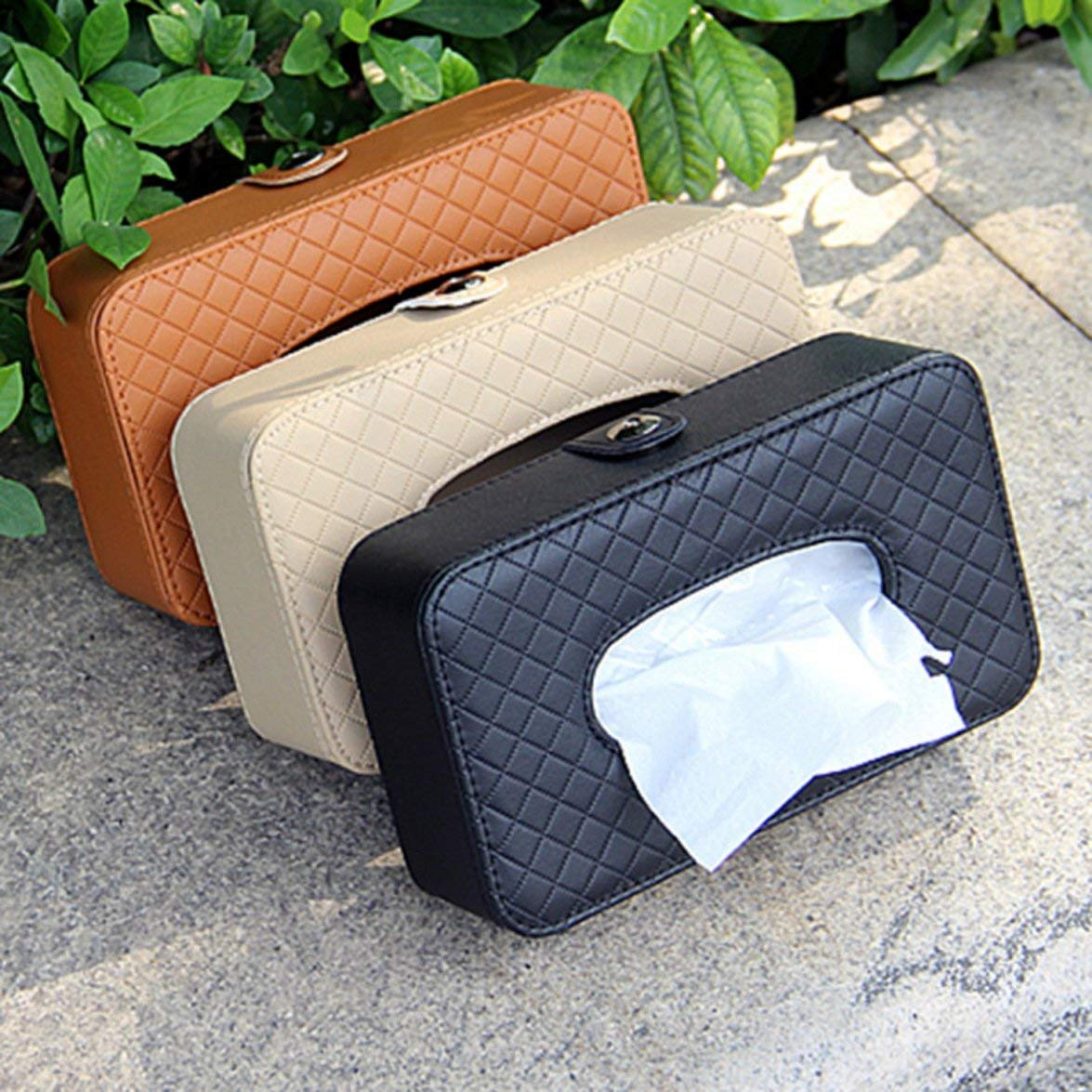 Kongqiabona Car Sac /à mouchoirs en Cuir Voiture Pare-Soleil Bo/îte /à mouchoirs Bo/îte /à mouchoirs Accessoires pour Voiture