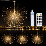 SEVEN LADY Firework-Lights,4 Lights LED Copper Wire Firework String Lights with Rechargeable Power Bank & Remote Control…