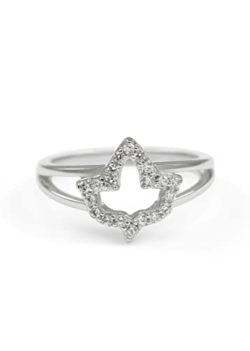 c9e3e0ffc The Collegiate Standard Sterling Silver Ivy Leaf Charm Ring with Simulated  Diamonds (4)
