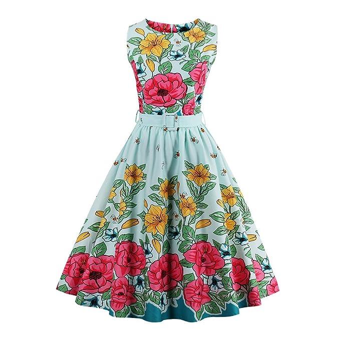 Vestido de abeja Floral Imprimir Vintage Dress para la mujer elegante estilo lindo vestido de fiesta
