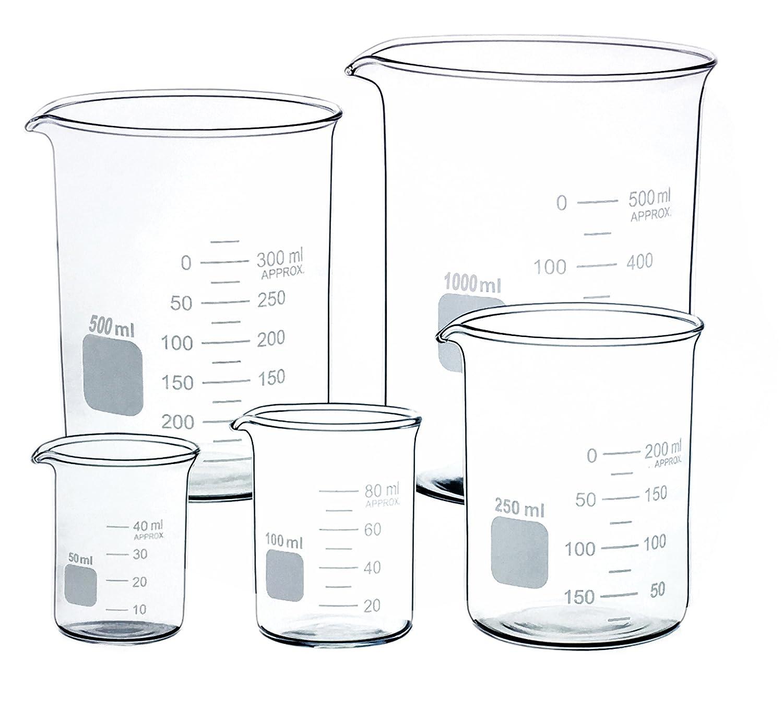 Glass Beaker Set of 5 Borosilicate The Punjab Scientific Industries