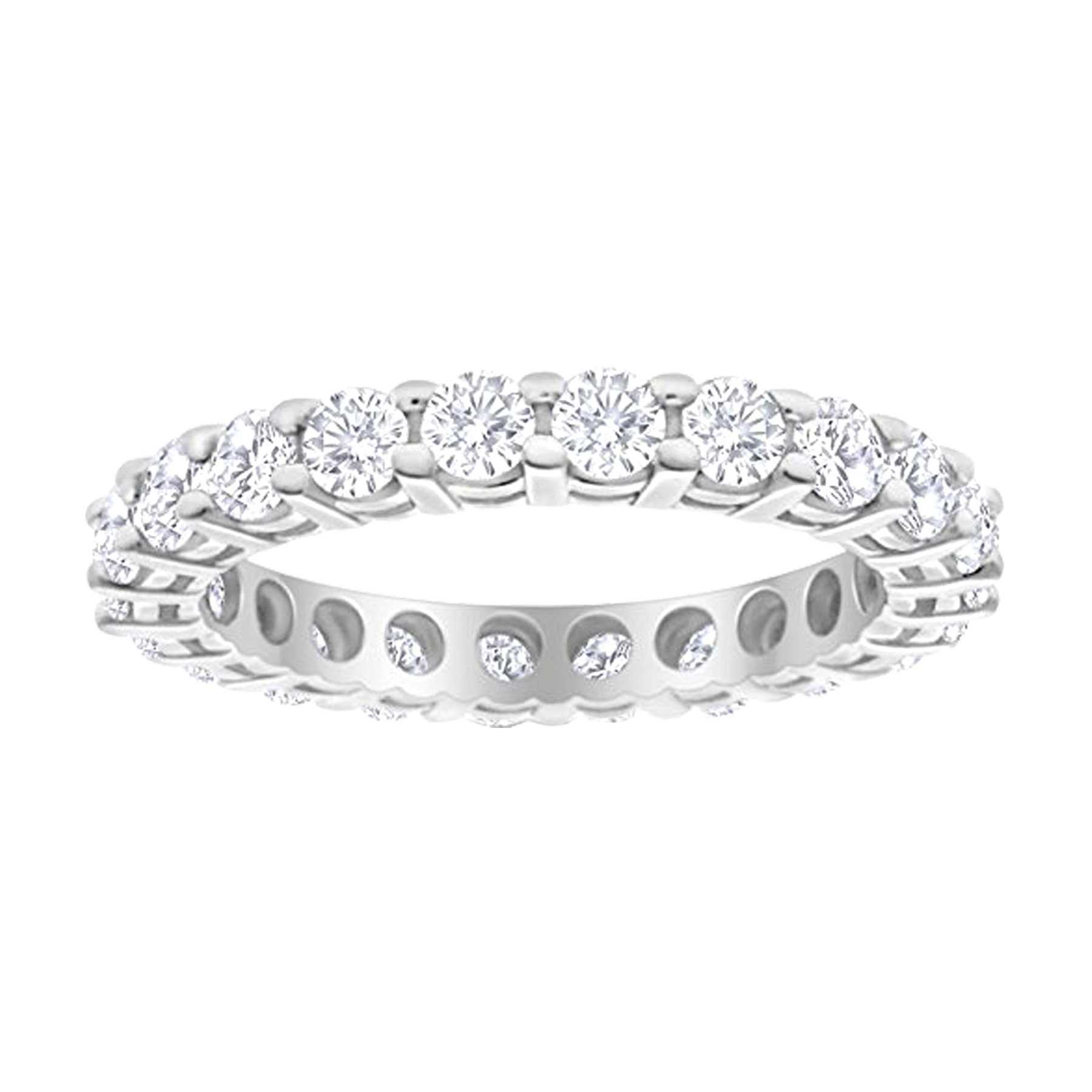 1 Carat (ctw) 14K White Gold Round Diamond Ladies Eternity Wedding Anniversary Stackable Ring Band Luxury Collection (D-E Color VS1-VS2 Clarity)