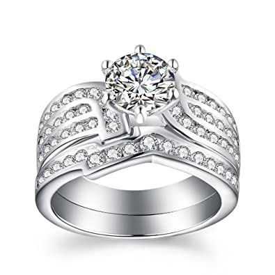 Fine Jewellery 1.20 Ct Diamond Engagement Ring Set 925 Sterling Silver Wedding Band Set Size M