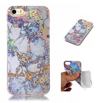 Funda iPhone SE/5/5S Silicona mármol TPU Super Delgado Suave Carcasa de telefono Protección por JOYTAG