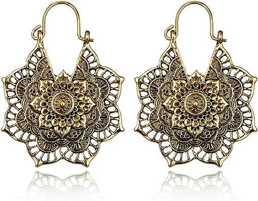 A Louts Spiral Handmade Hoop Brass Bohemian Large Boho Designer Party Wear Earrings