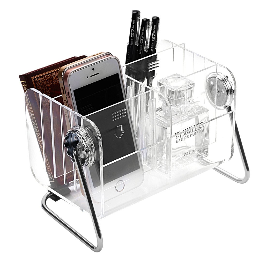 Ivosmart Clear Desktop Acrylic TV Remote Control Mobile Phone Storage Holder Organizer Caddy