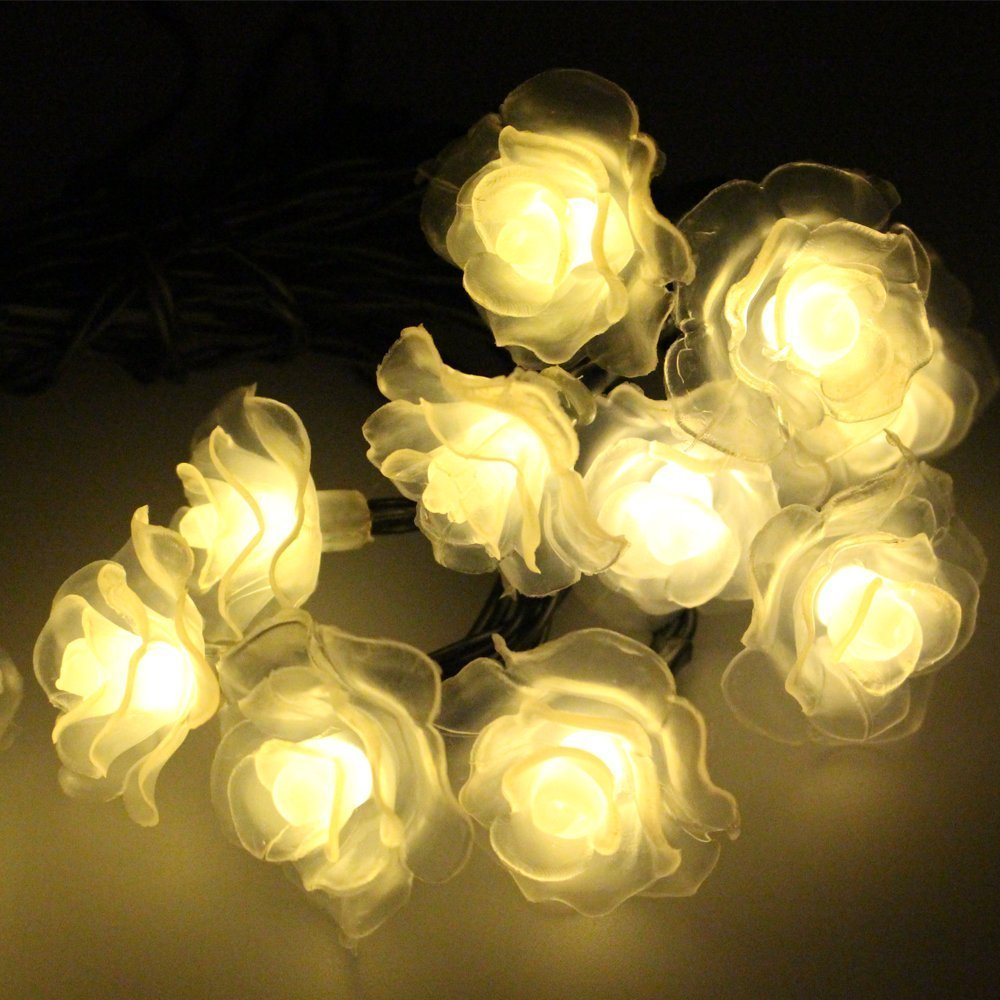 Solar String Light, SUAVER 20 LED Waterproof Rose Solar Fairy String Lights for Christmas, Garden, Patio, Wedding, Party and Holiday Decorations (Warm White)