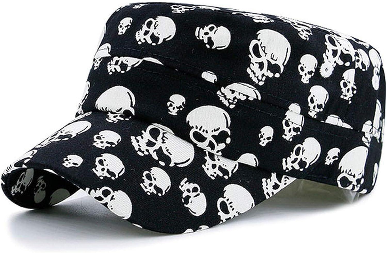 Elegant-Store-A Men Black Cool Skull Baseball Caps Women Cotton Casual Flat Hats Snapback Adjustable Design Bone