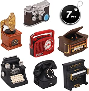 Set of 7 Creative Retro European Resin Figurin for Home Cafe Bar Window Decoration Children Toys and Gift (Incluing Telephones Typewriter Camera Piano Phonograph Radio and Sound Player)