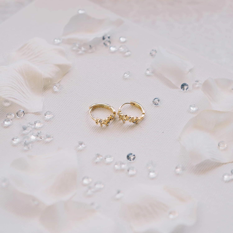 Feuille dor boucles doreilles cr/éoles avec cristaux de Swarovski
