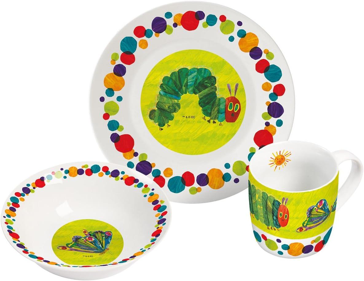 Porcelaine Multicolore 22,5/x 9,5/x 19,5/cm Lot de 3/unit/és Raupe Nimmersatt Kit Petit-d/éjeuner 3/pi/èces en Porcelaine