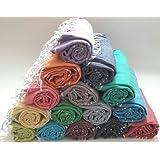 Paramus SALE Set of 6 XL Turkish Cotton Peshtemal Towels, Hamam Towel Wrap Pareo Fouta Throw Peshtemal Pestemal Sheet Blanket, Black,Grey,Navy,Blue,Turquoise,Red,Yellow,Purple,Pink