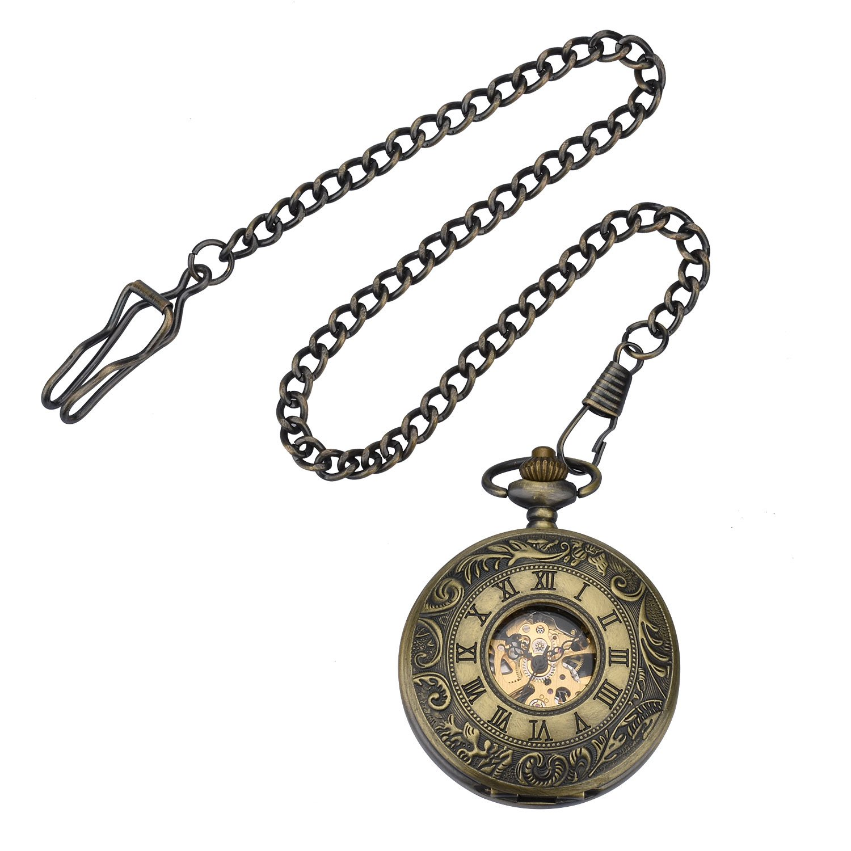 Zeiger New Mens Classic Mechanical Steampunk Pocket Watch, Stainless Steel Copper Case Skeleton Roman Design, Pocket Watch with Chain (Bronze 2) by ZEIGER