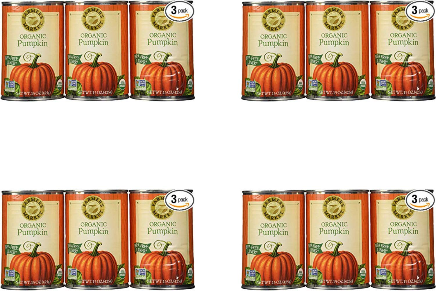 Farmers Market Pumpkin Puree 100% Organic 3 Count-15oz (4 Pack)