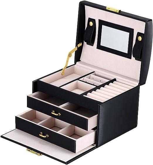DCCN Jewellery Box Estuche de cosméticos Caja de Almacenamiento de joyería de Cuero de PU de Tres Capas con Espejo y Cerradura, Regalo para niñas o Mujeres(Negro): Amazon.es: Juguetes y juegos