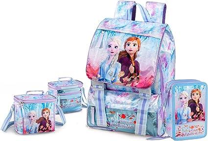 Mochila extensible Frozen + estuche triple + portamerienda + cuaderno de regalo escuela elemental 2020-2021: Amazon.es: Oficina y papelería