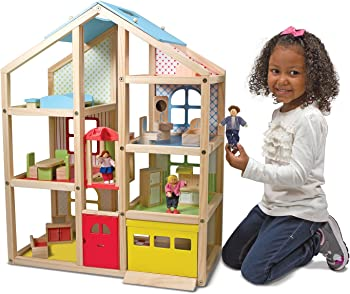 Melissa & Doug Hi-Rise Dollhouse + Motorized Train Set + 60-Pc Blocks Set