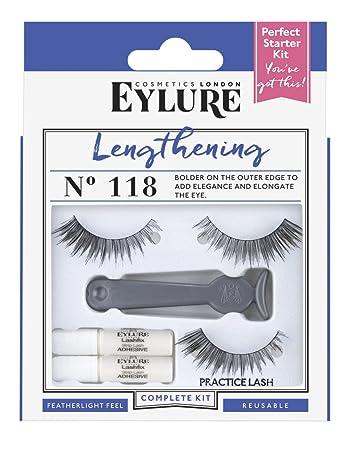 844c9cf2478 Amazon.com : Eylure False Eyelashes Lengthening Starter Kit, Style No. 118,  Reusable, Adhesive Included, 1 Pair : Beauty